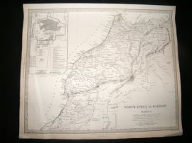 SDUK 1836 Antique Map. North Africa. Morocco, with Inset